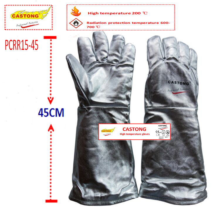 CASTONG 200 Degrees High Temperature Gloves Aluminum Foil + Insulation Cotton Fireproof Gloves Anti-scald Protection Gloves