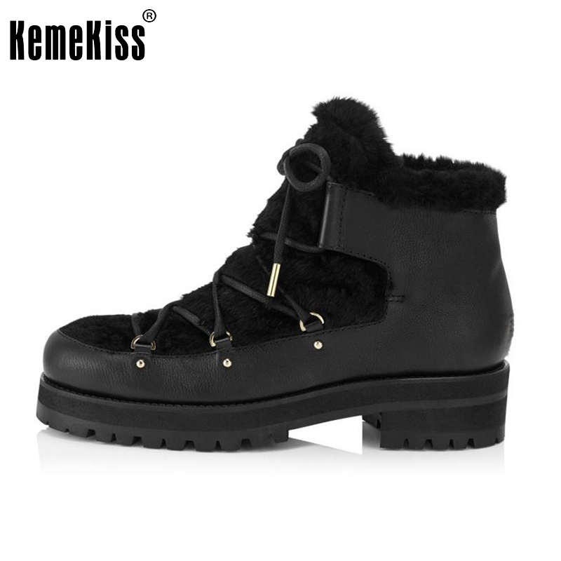 ФОТО Women Platform Genuine Leather Ankle Boots Woman Square Heel Botas Ladies Lace Up Thickened Fur Casual Boot Size 33-41