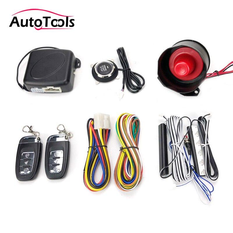 Système automatique d'entrée sans clé de voiture un bouton d'arrêt de démarrage avec le système d'alarme de voiture de démarreur à distance