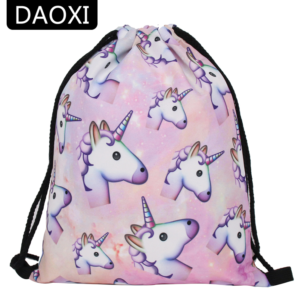 DAOXI 3D Printed Unicorn Drawstring Bags Fashion Casual Women Travel for School Backpacks tile printed drawstring raglan sleeve hoodie