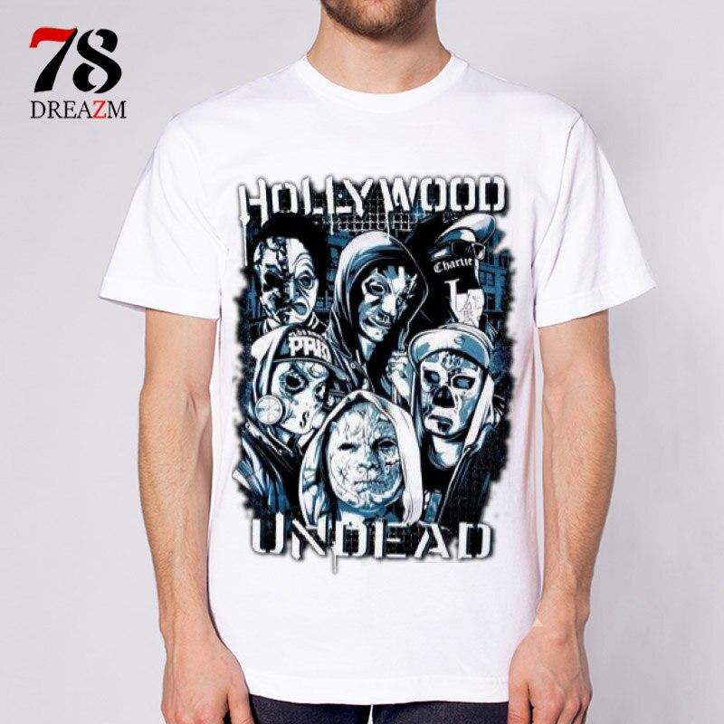 Hollywood undead mâle hommes t-shirt bande musique rock n roll nouveau 2017 hommes t-shirt modèle d'impression d'o-cou tee qualité casual hommes