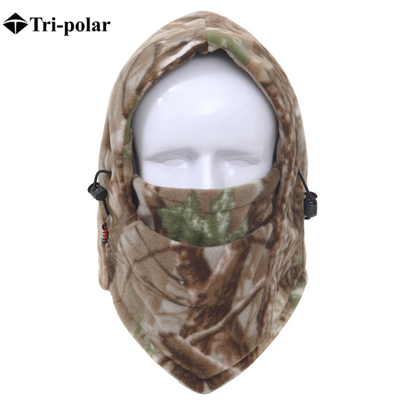 Tri-polar Snow Winter Warm Hats For Men And Women Windproof Anti-sand Hat Running Ski Cycling Cap Hat-neck-Protection Outdoor CS