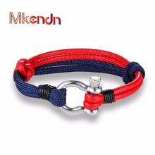 MKENDN Bracelets Stainless Steel Screw Anchor Shackles Black Leather Bracelet Surf Nautical Sailor Men Wristband Fashion Jewelry