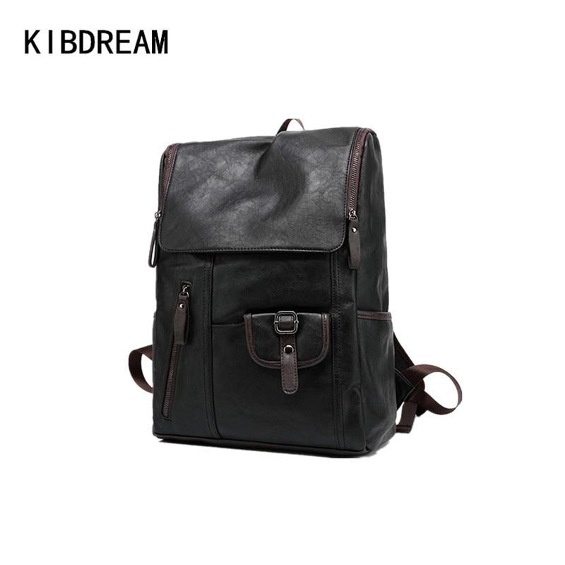 ФОТО KIBDREAM Brand Genuine Leather Men School Backpacks Teenagers Boy Vintage Bagpack England Fashion Travel Laptop Backpack Mochila