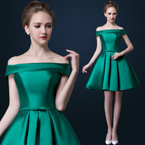 88a9fed2ec31 In Stock Cheap Green And Red Color Boat Neck Short Prom Dress Satin Off The  Shoulder A Line Party Dress Limit Discount DHMN013