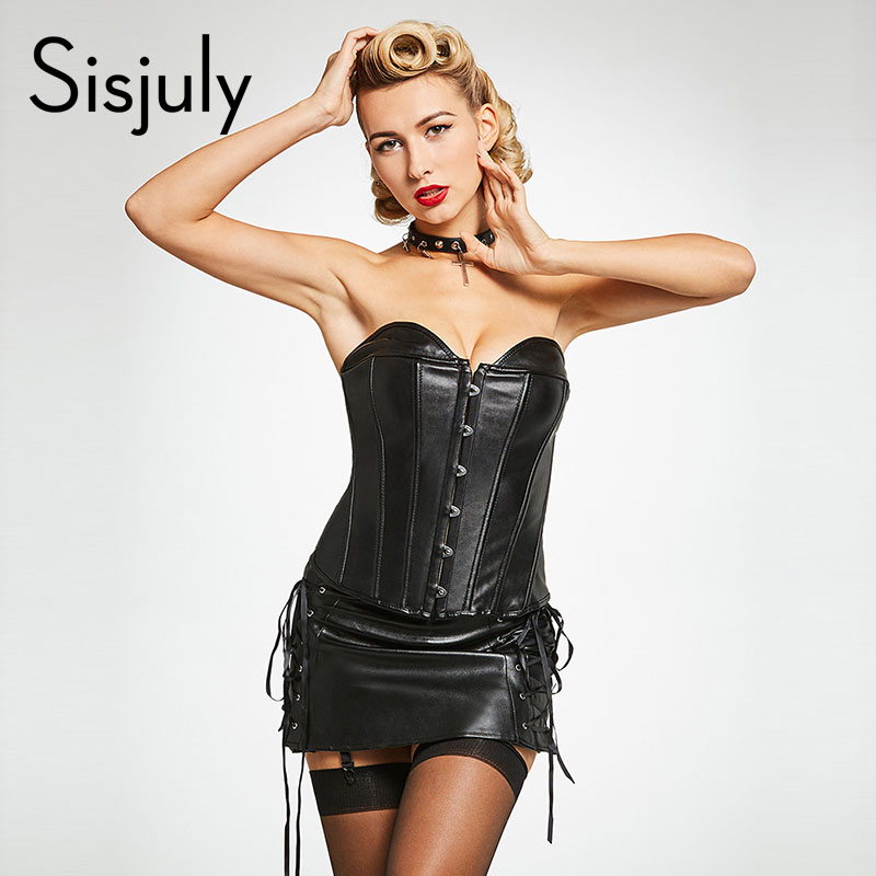 Sisjuly women   corsets   lace up black strapless sexy   corsets   leather bodysuit zipper plain tight lace cheap   bustiers   and   corsets
