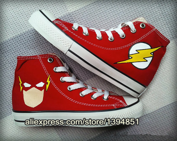 61b2c99a4234 The Flash Custom Canvas Sneakers Shoes for Women Men The Avengers Painted  Shoes Fashion DC Comics Hi Tops Shoes