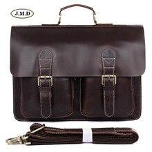 J.M.D Genuine Leather Mens Fashion Brown Classic Style Special Design Laptop Handbag Business Briefcase Shoulder Bag 7105Q-1
