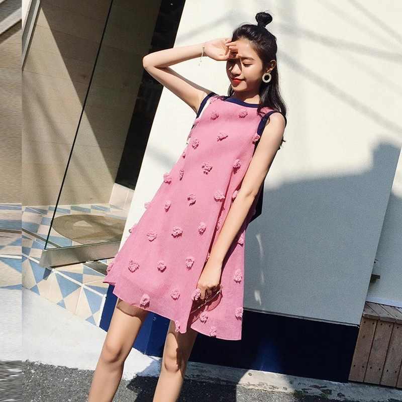 Для беременных женщин Лето 2018 Новая мода свободная рубашка без рукавов Длинные юбки Tide Mom A Word платье для беременных женщин