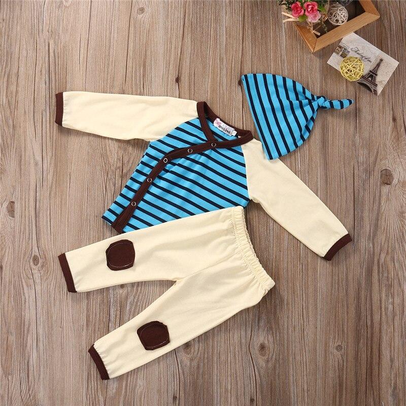 Newborn Infant Baby Boy Girls Cotton T-shirt Top Pants 3pcs Outfit Set  Children Clothing
