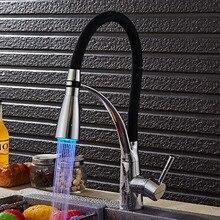 СВЕТОДИОДНЫЕ Кухня Раковина Кран Смесителя Горячей и Холодной Воды Кухня Раковина кран LED Спрей Душем Кухонный Кран Pull Down Кухонный Кран