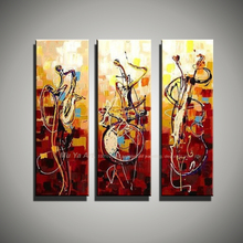 Vertical music art knife painting canvas abstract modern 3 piece canvas wall art picture famous figure oil painting acrylic
