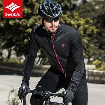 2019 Men's Cycling Jersey Jacket Bike Winter Fleece Thermal Cycling Clothes Windproof Black Warm Cycling Jacket Santic
