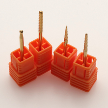 Kesinails Gold Carbide Smooth Top Burr Nail Drill Bit Electric Drill Accessories Manicure Nail Art UV LED Gel Tool New