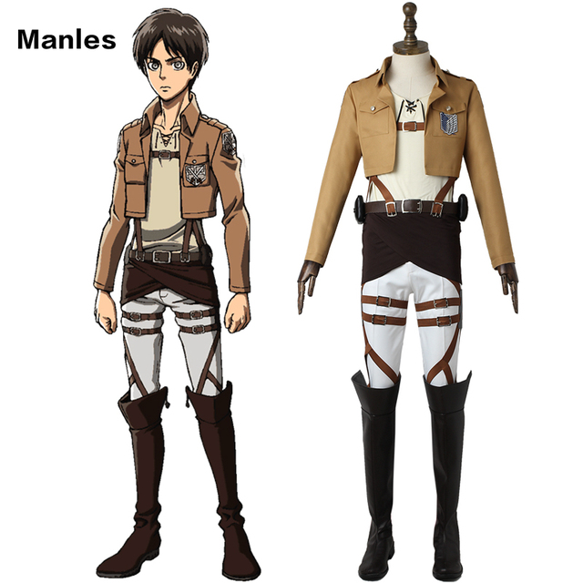 9a9911d833a8 Eren Yeager Cosplay Anime Attack on Titan Costume Shingeki no Kyojin  Clothes Scout Legion Uniform Halloween Costume Adult Men