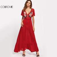 COLROVIE Symmetrical Embroidery Floral Maxi Dress 2017 Flutter Sleeve Women Red Party Dresses Ruffle Draped Cut