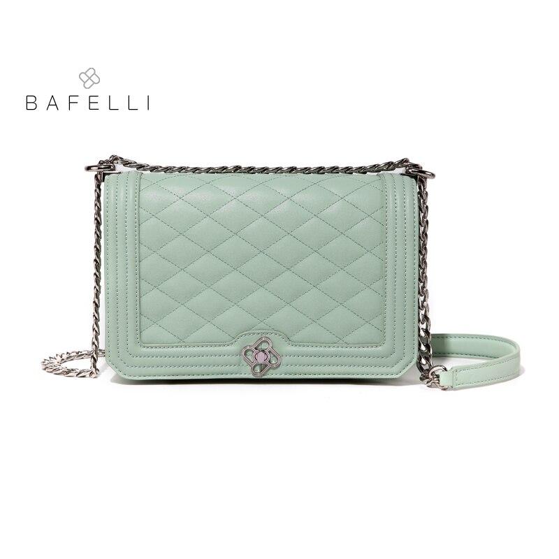 BAFELLI women bags split leather diamond lattice chains blue shoulder bags handbags women famous brands crossbody bag for women