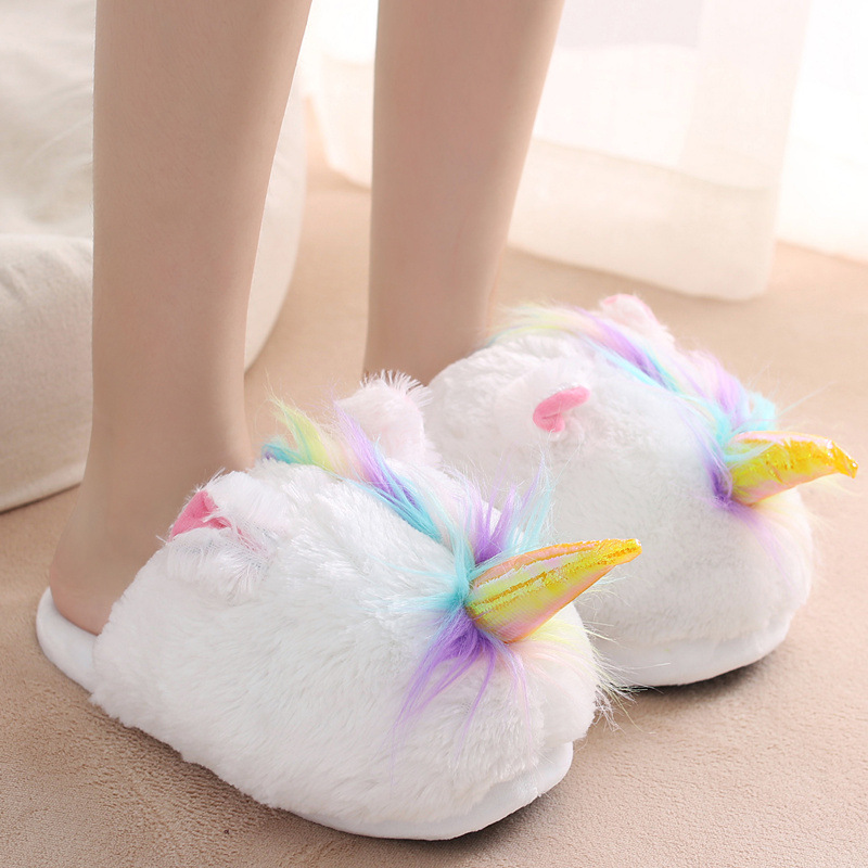 Unicorn Warm Plush Slipper Colorful Hair Good Household Slipper Onesize