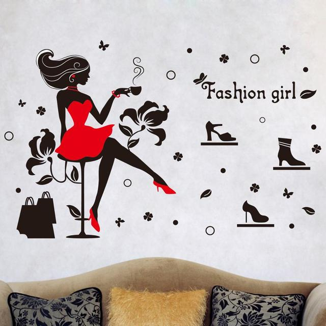 Removable wall stickers Girl room glass window dressing room girl ...