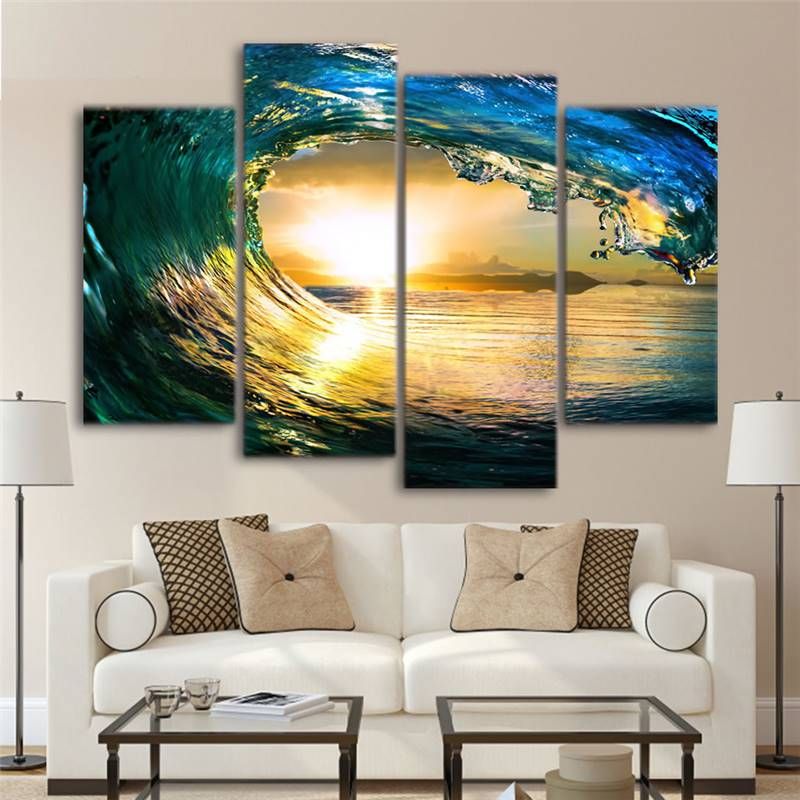 4 Pieces Canvas Painting Tropical Paradise Ocean Living