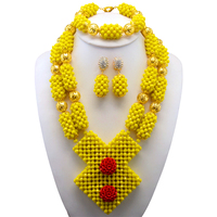 Yellow Coral African Wedding Jewelry Set Gold Accessories African Beads Bridal Wedding Jewelry Necklace Set