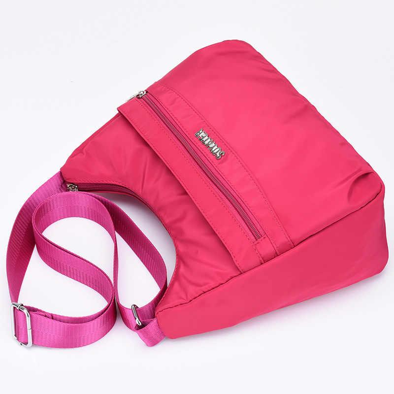 Novas bolsas femininas bolsa de ombro à prova dnylon água náilon senhoras mensageiro sacos zíper vintage meia idade das mulheres crossbody saco