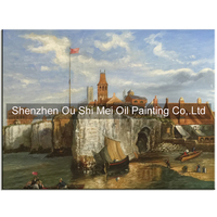 High Quality Hand Painted Oil Paintings on Canvas Wall Oil Painting Building Scenery For Home Decor Shore Landscape in Store