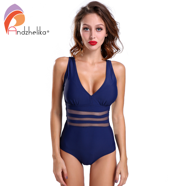 Andzhelika New One Piece Swimsuit Women Bodysuit Beachwear Padded Sexy Mesh Plus Size Swimwear Bathing Suit Swim Wear 3XL AK5321