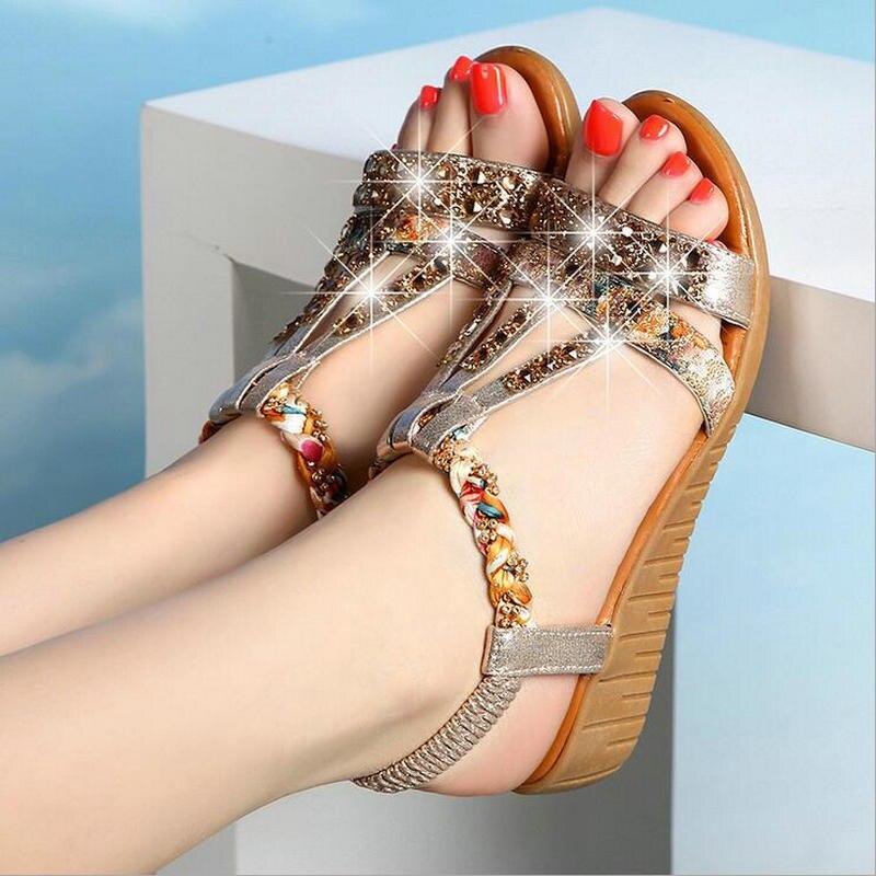 Women shoes sandals comfort sandals women Summer Classic Rhinestone 2017 fashion high quality sandals Bohemian style883