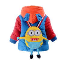 Cute Cartoon Minions Children Coat Unisex Boys Girls Outwear Color Patchwork Hooded Winter Warm Coat Kids Fashion Clothes