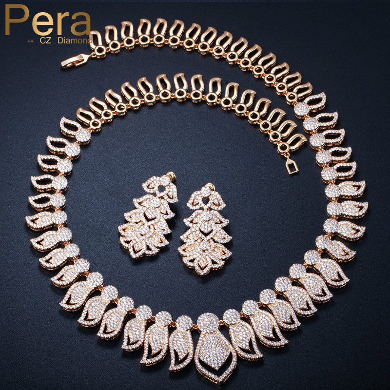Pera Luxury African And Nigerian Bridal Wedding Party Jewelry Big Statement Cubic Zirconia Necklace Earrings Set For Brides J017 statement alloy crochet earrings and necklace