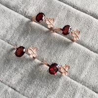 Lovely Ladies Butterfly Ring Natural Garnet Silver 925 Jewelry Birthstone Gems Adjustable Open Rings For Women