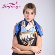 Jinjin.QC Brand soie silk square scarf women fashion scarves and wraps horse print beach suncreen shawls drop shipping