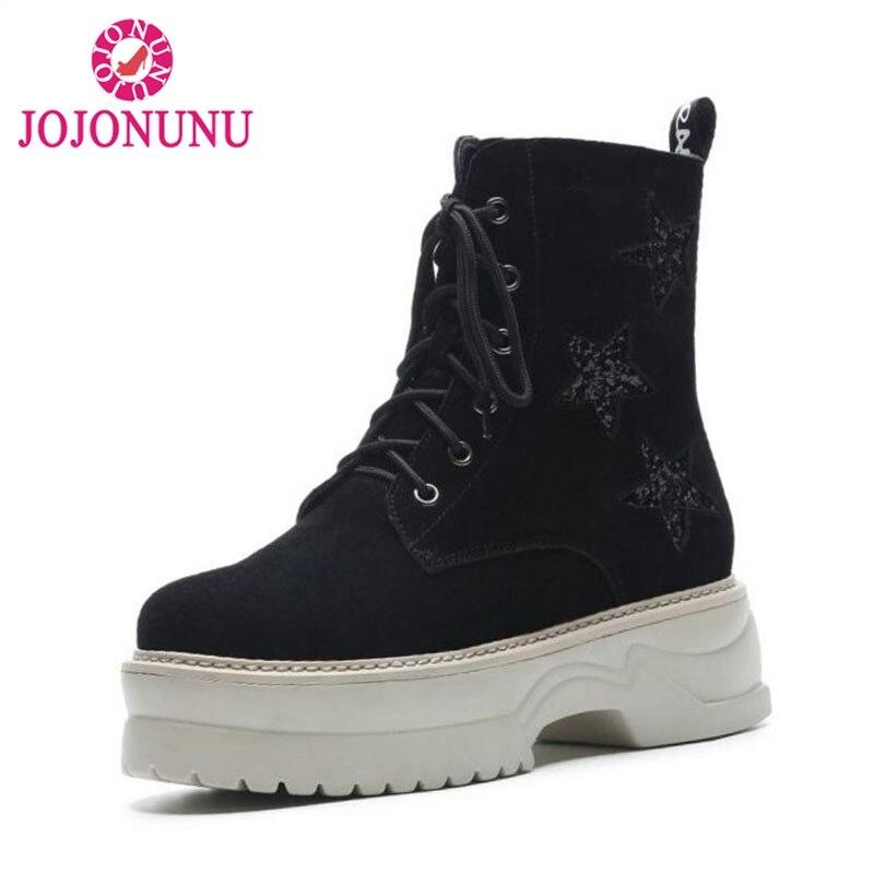 3c031ea0bb5a Bottes forme Lacets Femmes De Véritable Semelle Cuir Chaussures Étoiles  Épaisse Lettre Noir D hiver Bagatelle ...