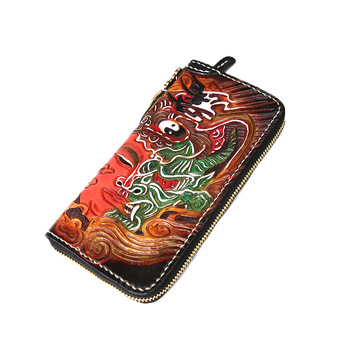Hand-carved Devil and Buddha Wallets Bag Purses Men Long Clutch Vegetable Tanned Leather Christmas Gifts