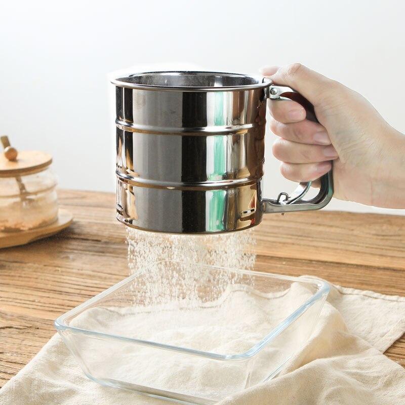1 unid alta calidad tamiz harina Acero inoxidable tazas diseño hornear azúcar Shaker tamiz forma de hornear confitería herramienta
