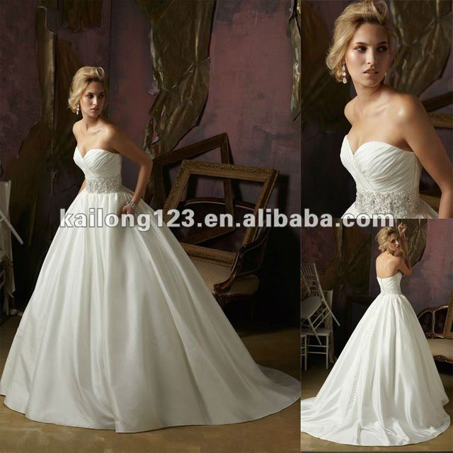 Pretty Sweetheart Floor Length Sweep Train Beaded Crystals Taffeta Ball Gown Wedding Dresses