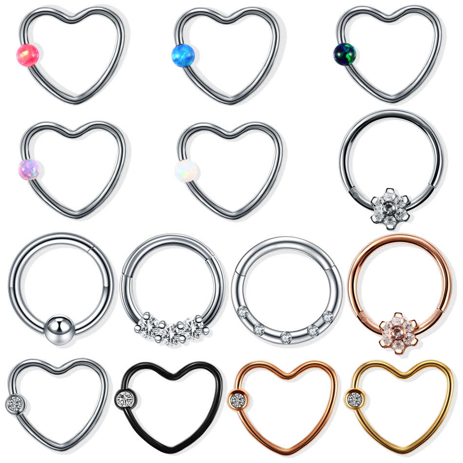H-S 1PC Steel Daith Heart Piercings Hinged Nose Septum Clicker Ring CZ Opal Ear Cartilage Tragus Lip Piercing Sexy Women Jewelry