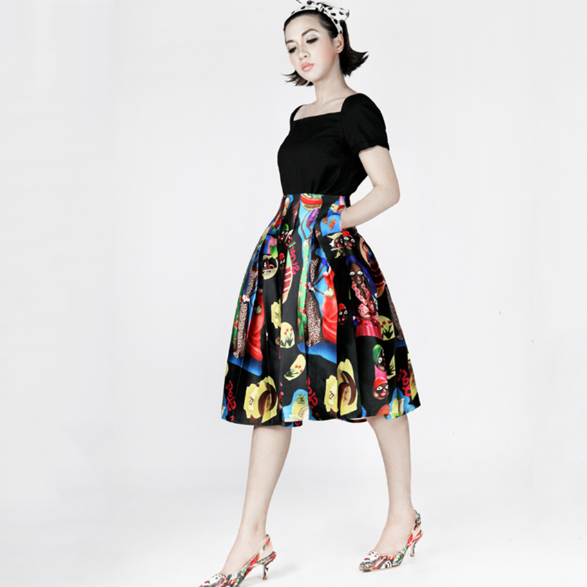 FREE SHIPPING 2016 Spring New Vintage Music Festival Original Design High Pleated Waist Printing Black A Line Tutu Skirt Women