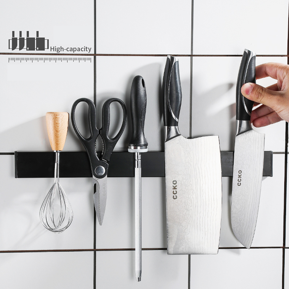Stainless Steel Black Kitchen Pantry Strong Magnetic Knife Shelf 30-50CM Rack Wall Hanging Collecting Storage Bar Supply Tools