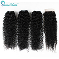 Benefit Wet And Wavy Virgin  Brazilian Hair Kinky Curly 3 pcs with closure 4*4 Virgin Hair Bundle Deals Deep Curly Panse Hair