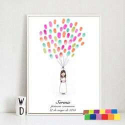 هدايا عيد ميلاد للأطفال البنات ودش بصمة اللوحة كتاب ضيف مخصص طباعة الأميرة الصغيرة اللوحة حفلة التواصل الأول