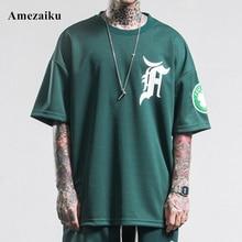 2017 summer mens casual T Shirt streetwear black and green brand clothing man's loose T-Shirts male tops play tees take a walk