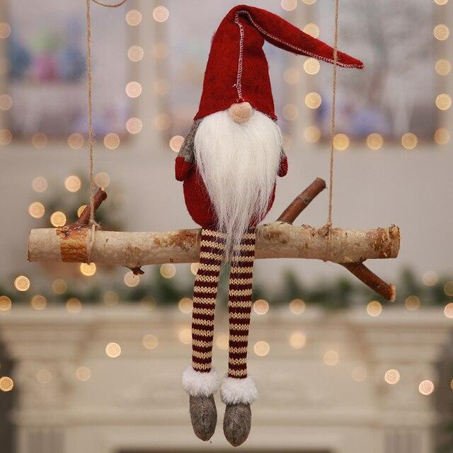 Nordic Plush Dwarf Ornaments Christmas Present Santa Claus Dolls Figurine for Xmas Festival Home Decoration Gifts SD447