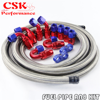 AN8 Stainless Steel/Braided Hose 5M + AN8 Fitting Hose End Adaptor Kit Black/Silver