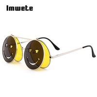 a9123d9ded53c0 Imwete Steampunk Sunglasses Men Women Brand Designer Round Metal Frame  Smiley Sun Glasses Retro Steam Punk