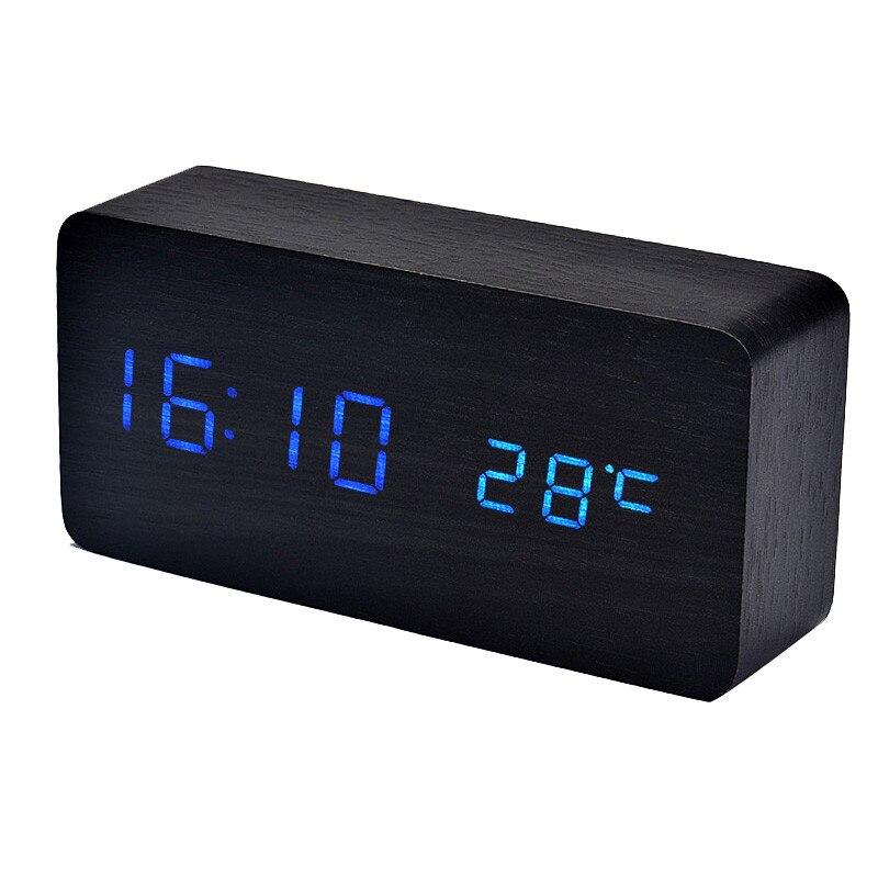 2018 New Fashion Table Clock Temperature Sounds Control LED electronic desktop Digital Alarm Clock High Quality Room Decor