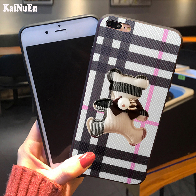 KaiNuEn Luxury 3D cute bear Hard PC Phone Back copy coque cover Case For iphone 7 plus 7plus for apple iphone7plus accessories