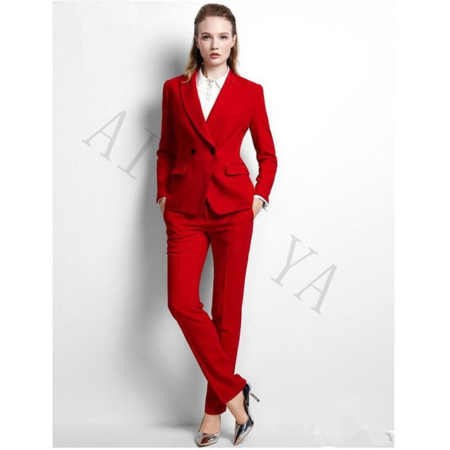 Jacket+Pants Womens Business Suits Red Double Breasted Female Office ...