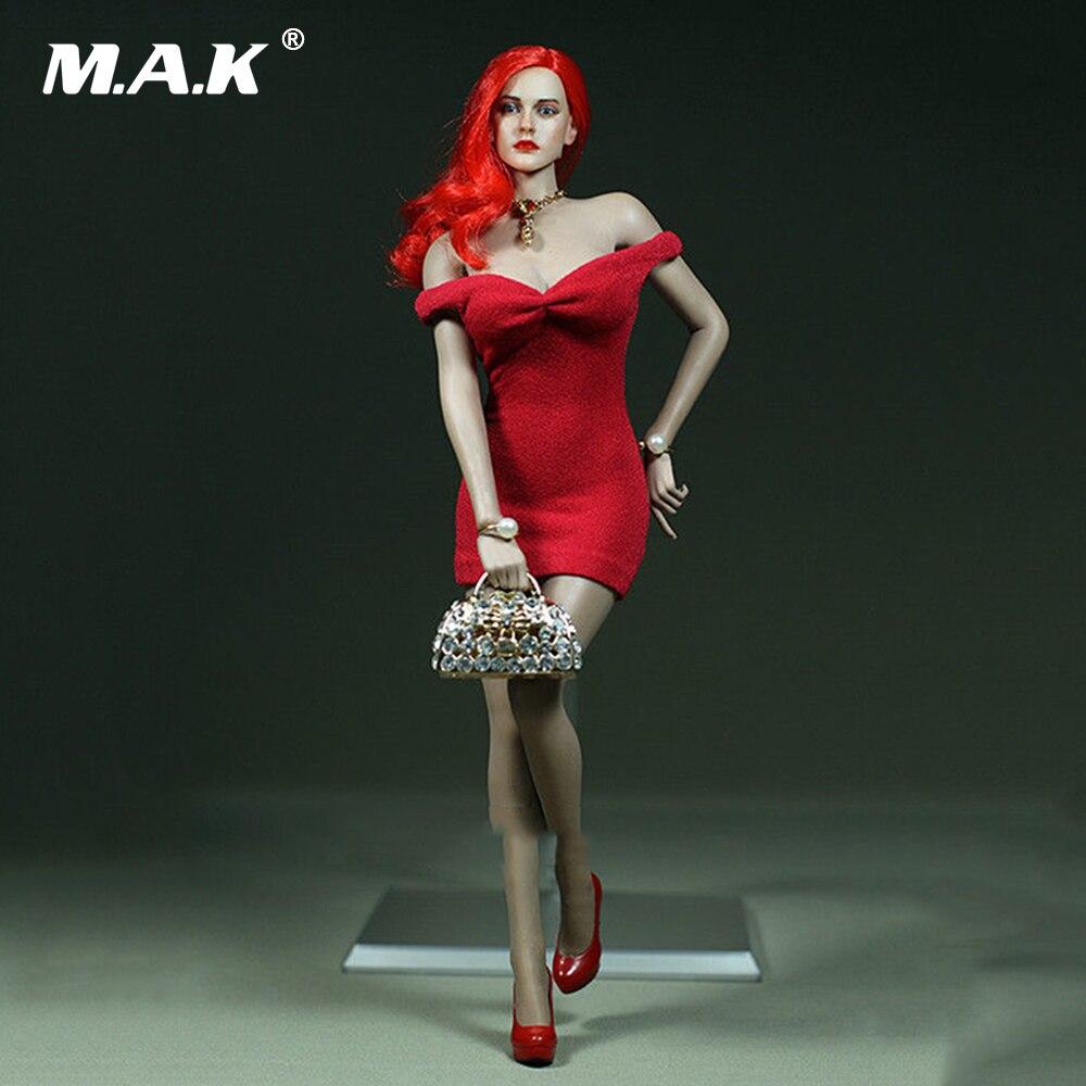 На заказ 1/6 женское красное платье без бретелек мини-юбка для 12